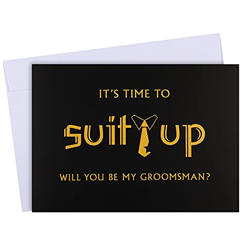 8 Pieces Groomsmen Proposal Cards 7 Pieces Will You Be My Groomsman Funny Cards and 1 Piece Will You Be My Best Man Card with Envelopes for Wedding Supplies, 5 x 7 Inch