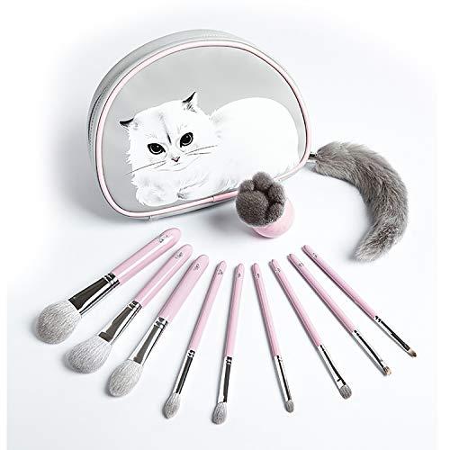 ENERGY メイクブラシ 10本セット山羊毛 化粧ブラシ メークアップブラシ チークブラシ 化粧筆 ファンデーションブラシ かわいい 萌え猫 可愛い 化粧ポーチ付き 女性 贈り物