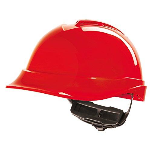 EL MSA V-Gard Casco EN397 - Casco de trabajador de construcción Cascos de trabajo Cascos de protección en div. Colores - Rojo, V-Gard 200 Premium ✅