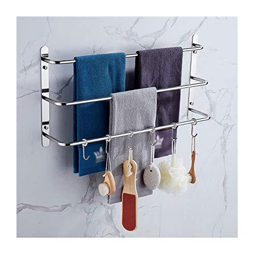 SHXITAYNB Stagger Layers Toallero, con seis ganchos movibles de acero inoxidable, juego de accesorios de baño para colgar esponja de baño y toallas pulido brillante, 43 cm