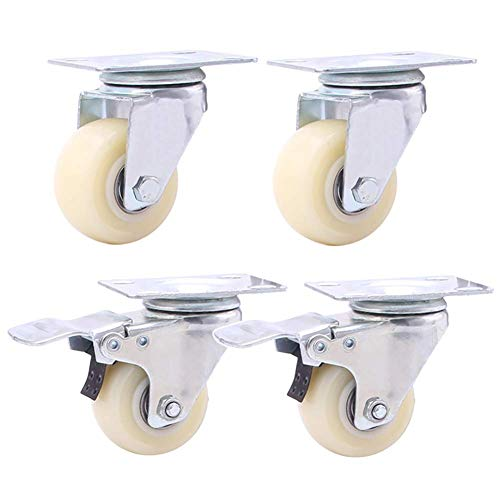 4 Furniture Casters 1.5' (38mm) 200KG 2 Inch (50mm) 240KG Nylon Fixed Wheels Sofa Trolley Replacement Heavy Duty Casters With Brake Universal Swivel Wheel For Hardwood Floor Carpet Tile