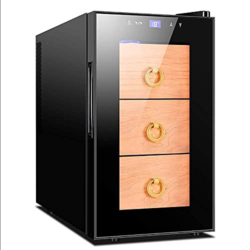 ZHAOHGJ Cabinet Cigare Compact 150 cigares CIGEMENT COORE INDUSTRE-in 3 tiroirs de cigares Debout Debout avec Porte vitrée pour Barre ou Bureau
