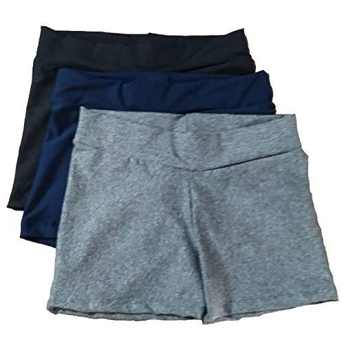 kit 3 shorts curto feminino suplex academia fitness (diversas, G)