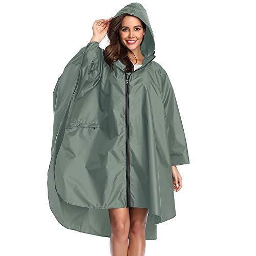Summer Mae Regen Poncho Jacke Mantel für Erwachsene mit Kapuze wasserdicht mit Reißverschluss im Freien,Einheitsgröße,Grün