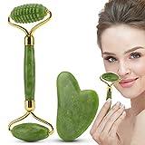 rullo di giada, rullo per il viso jiasoval e set di gua sha, massaggiatore per il viso in pietra di giada naturale, strumenti di massaggio per ridurre le rughe, regali per le donne
