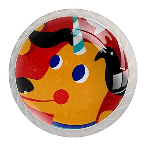 Perillas de gabinete de cocina Perillas decorativas redondas Gabinete Cajones de armario Tirador de tocador 4PCS Dogicorn Unicorn Dog