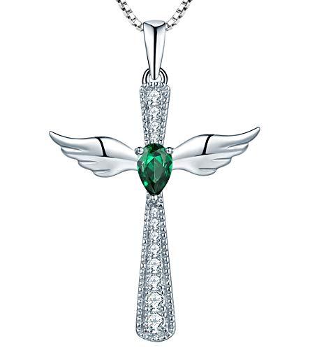 YL Women's Cross Necklace 925 Sterling Silver Cubic Zirconia Angel Wings Pendant Teardrop Created Emerald Criss Jewelry