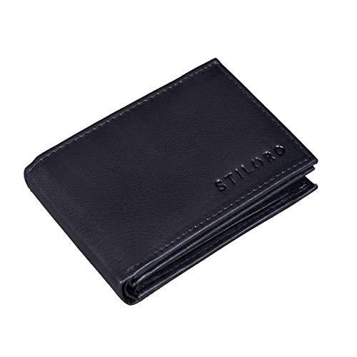 STILORD 'Lincoln' Monedero Mini Billetera Cuero RFID NFC Protección Slim Wallet para Hombres y con Billetera Mondero Piel, Color:Negro