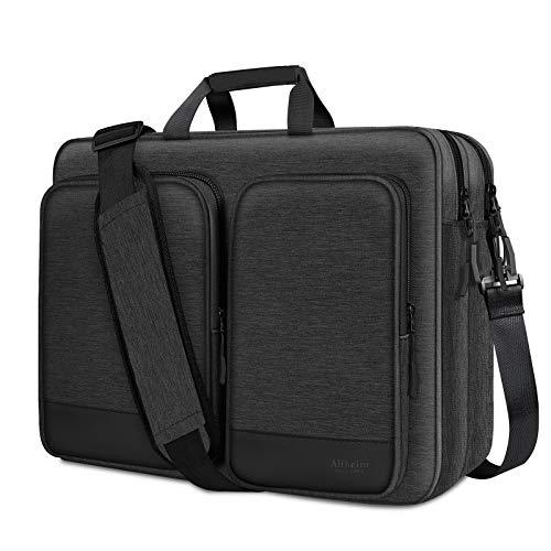 Alfheim 17-17.3 Pulgadas Laptop Hombro Bolso, Impermeable Resistente a los Golpes Protector Maletín Messenger para Hombres Mujeres, Bolsa de Ordenador Multifuncional Compatible con portátil de Mesa