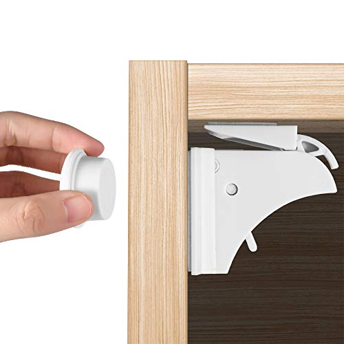 TAILINB Magnetic Cabinet Locks, Baby Proofing & Child Safety(12-Pack 2 Keys) for Cabinets and Drawers, Easy to Install 3M Adhesive Child Cabinet Locks, No Screws or Tools Needed