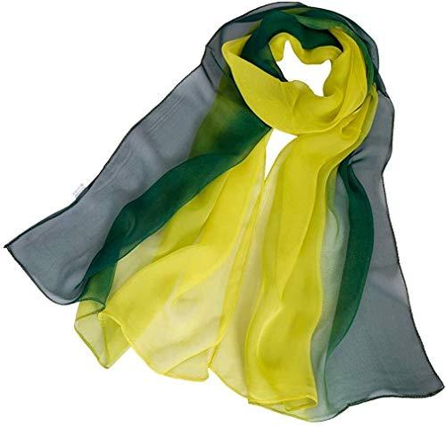 TD-Schals Frauen-Mischung Ombre Seidenschal Leicht Oblong Gradiente Schal Hohe Qualität (Color : Greens)