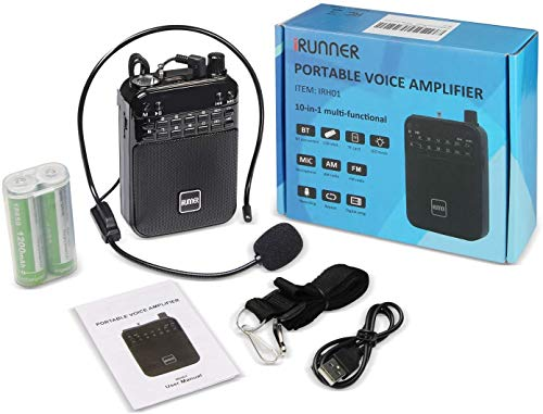 Sale!! IRUNNER Voice Amplifier, Ultralight Portable Rechargeable PA System(2.5 inch) 5W 12 hours pla...