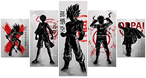 Hunbeauty art Póster mixto de anime Hunter x Hunter Gon One Piece Luffy Dragon Ball Z Gokuu Son Uzumaki Naruto y One Punch Man Saitama Póster impreso en lienzo sin marco para decoración de paredes