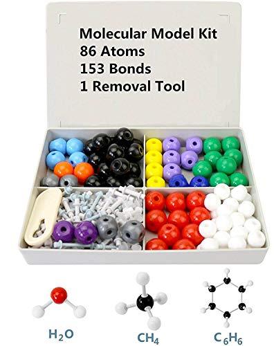 Poweka Modelo Molecular Kit de Estructura Orgánica Inorgánica Química 240 Unids con Átomo Enlaces y Guía de Instrucción para Maestros Estudiantes y Científicos