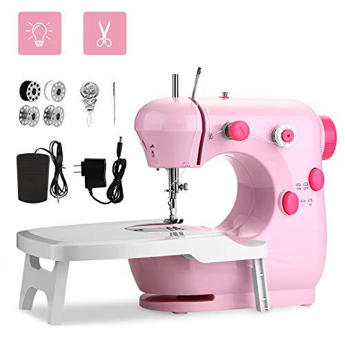 WADEO Máquina de coser para principiantes, mini máquina de coser con mesa de extensión, pedal de pie, ajustable de 2 velocidades y para principiantes a aprender
