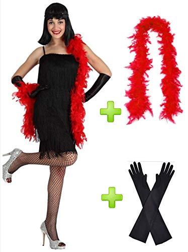 Disfraz de Charleston Negro con boa y guantes