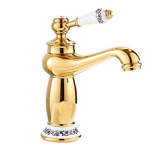 Allamp Retro Europeo Cobre Oro baño de cerámica Cuenca del Grifo Caliente y Depósito de Agua fría bajo el Grifo de la práctica Hermosa Adecuado para Cocina y baño.
