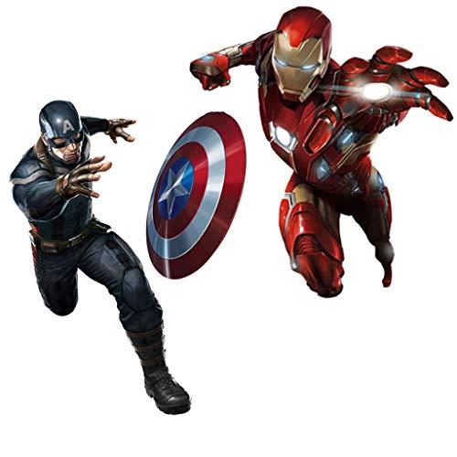 Marvel Capitan America Iron Man 3D tridimensionali adesivi murali Effetto Porta Adesivi Carta da parati, for i bambini casa scuola da letto Soggiorno porta dell'ufficio camera da letto della stanza de