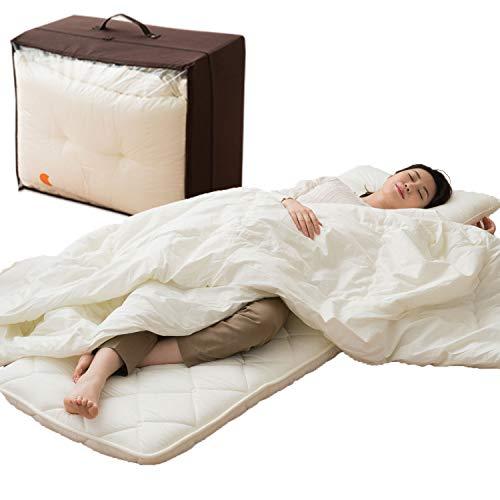 EMOOR Japanische traditionelle Futon-Matratze, 6-Fach gefaltet. Hergestellt in Japan Futon-Set Gorone Kompakte Größe (65 x 180 cm)