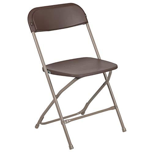 Flash Furniture Hercules Series 800-Pound Premium Plastic Folding Chair, Brown