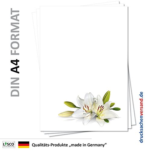 Motiv Briefpapier (Blumen-5148, DIN A4, 25 Blatt). Einseitig bedrucktes Briefpapier, sehr gut beschreibbar, für alle Drucker/Kopierer geeignet, Motivpapier mit weißen wunderschönen Lilien, welche für Reinheit und Schönheit stehen