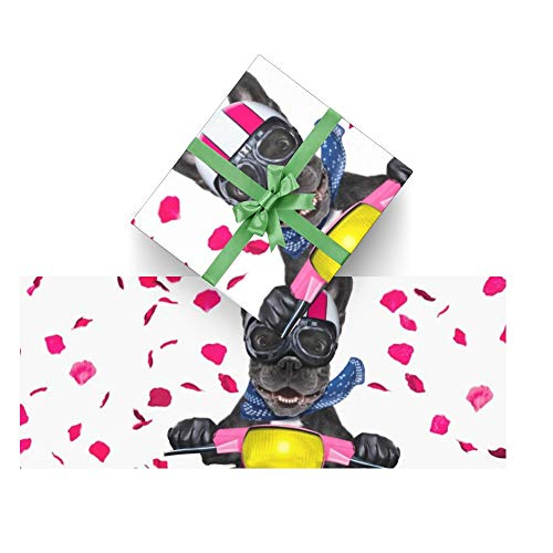 CUXWEOT Gift Wrapping Paper Valentines French Bulldog for Christmas,Birthday,Holiday,Wedding,Gifts Packing - 3Rolls - 58 x 23inch Per Roll