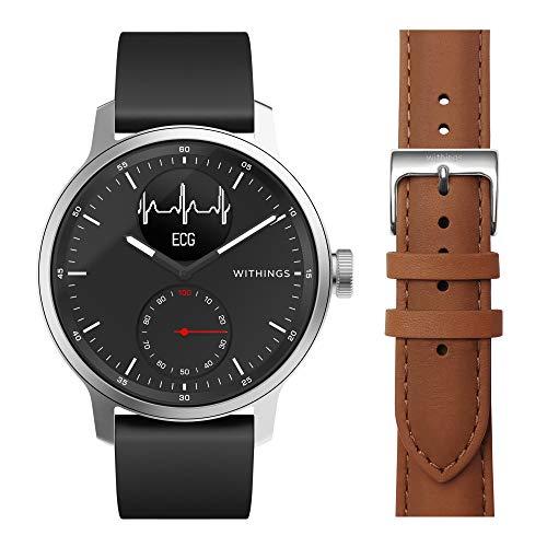 Withings ScanWatch - Reloj Inteligente híbrido con ECG, tensiómetro y oxímetro, 42 mm, Color Negro + Correa para Steel HR 40 mm, Steel HR Sport