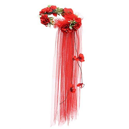 YO-HAPPY Wedding Veil, Womens Bridal Wedding Garland Tulle Veil Seaside Holiday Rainbow Artificial Flowers Crown Long Vine Ribbon Headband Hair Wreath