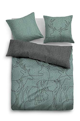 TOM TAILOR 0849933 Bettwäsche Garnitur mit Kopfkissenbezug Melange Flanell Graphic Deers 1x 135x200 cm + 1x 80x80 cm mint