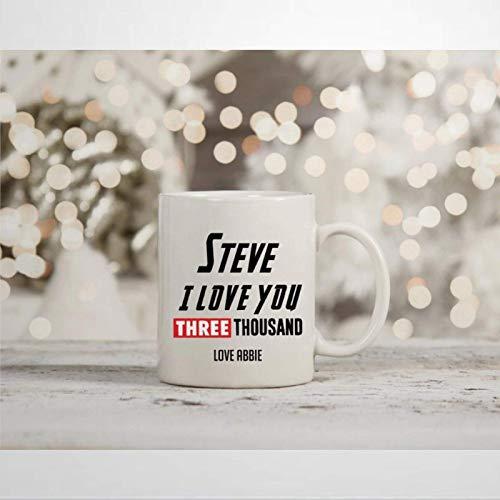 N\A Marvel Endgame Personalized I Love You 3000 Taza de café Inspirada en Tony Stark Iron Man Novedad Taza de cerámica Taza de té Regalo de cumpleaños de Navidad para Hombres y Mujeres