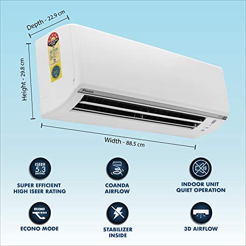 Daikin 1.5 Ton 5 Star Inverter Split AC (Copper, Anti Microbial Filter, 2020 Model,FTKF50TV, White)