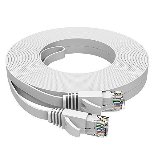 Ethernet-Kabel, Cat6 Gigabit LAN-Netzwerk-RJ45 High-Speed-Patchkabel, flach, 1 Gbit/s, 250 MHz/s, STP, kompatibel mit Xbox, PS4, PS3, Modem, Router, PCs, Drucker, Switch, Smart TV (weiß, 15 m)