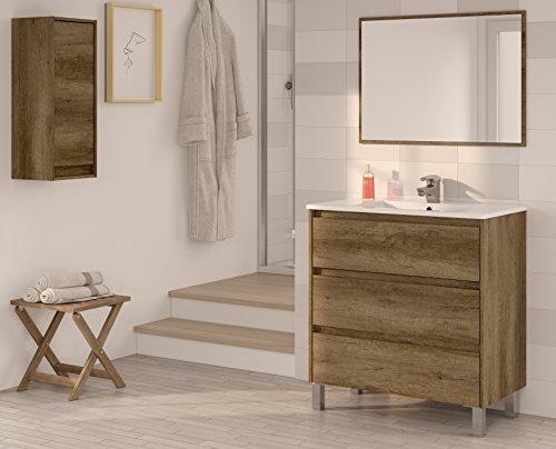 Miroytengo Conjunto Mueble de baño, Lavabo, o Aseo con Espejo, lavamanos de cerámica y Armario Auxiliar Alto de Aseo en Color nordik (Efecto Madera) con Cierre Progresivo