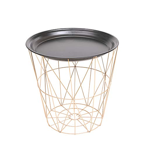 Kingwudo Black Round Disc Metal Frame Small Coffee Side Table Living Room Storage Unit Decoration,Portable Modern Simple Style,Up Φ39.5cm/Down Φ30cm,Height 41cm (Gold Frame)