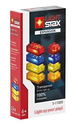 Light STAX Expansion, Compatible con el Sistema STAX y Todas Las Marcas conocidas de Bloques de construcción, 24 Piedras adicionales (Rojo, Amarillo, Azul y Naranja).