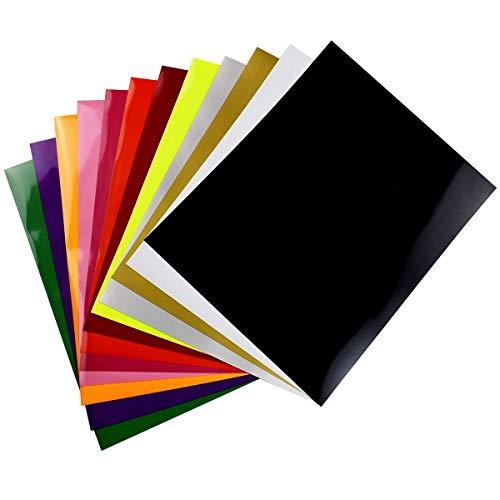 Vinilo de transferencia de calor para tela de camisetas - 12 hojas de colores surtidos - Hierro en HTV Kit de inicio de color vinilo para Cricut y Silhouette Cameo, 30x25cm