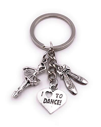 H-Customs Ballerina Tänzerin Frau Ballettschuhe Love to Dance Silber Schlüsselanhänger Anhänger