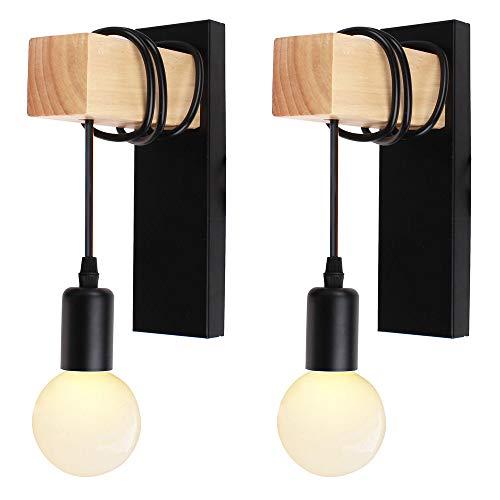 iDEGU Lot de 2 Applique Murale Intérieur Vintage Industrielle Lampe Murale E27 Luminaire Abat-jour en Métal avec Support en Bois pour Salon Couloir Bar (Douille Noire)