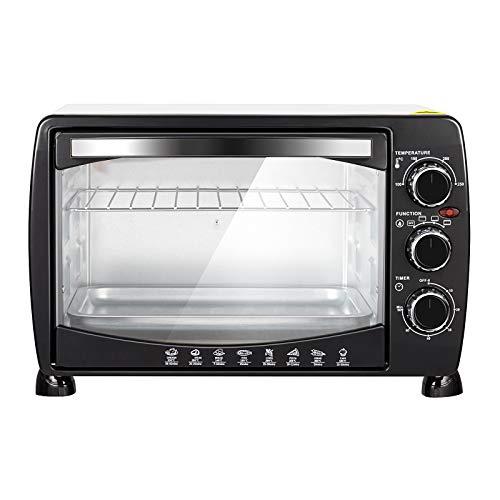 WOLTU BF09wsz Mini Backofen 20 Liter Pizzaofen Glastür mit Backblech mit Timer 100-250°C 1400 Watt Weiß+Schwarz