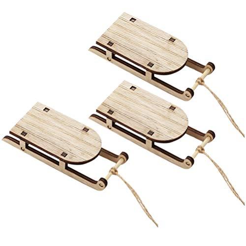BESPORTBLE 3 Stück Mini Schlitten Miniatur Holz Mini Schlitten Kit Tischplatte Holz Schlitten