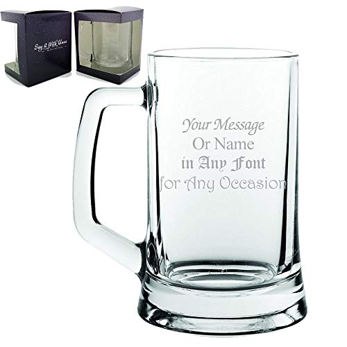 Personalised Engraved Glass Beer Stein, Gift Boxed, Personalise with Any Message for Any Occasion