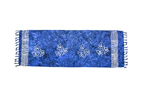 ManuMar sarong donna non trasparente come mini-gonna (155x55cm) | pareo bambini telo da mare | gonna a portafoglio | foulard leggero blu sfrangiato con motivo farfalla | spiaggia |