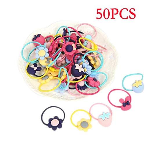 Kinhevao Couleurs Fille Mix 50pcs'S élastiques Cravates Cheveux Bands Mignon Caoutchouc Cheveux Porte-Couettes Accessoires Cheveux for Tout-Petits Enfants (Color : Style 1)