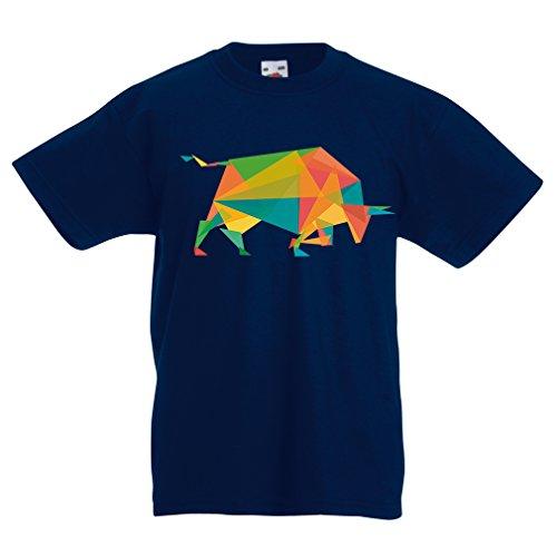 Kinder T-Shirt Fashion Bull (12-13 Years Dunkelblau Mehrfarben)