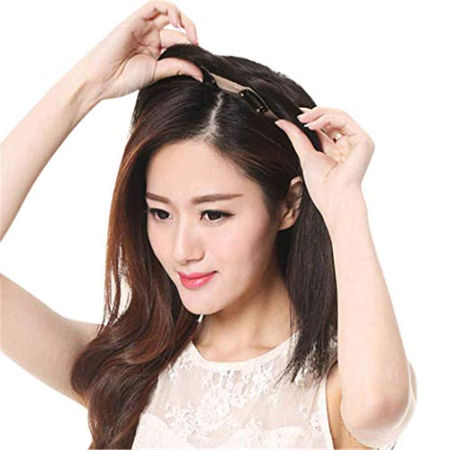 JYLDD Lace Topper Cheveux Brésilienne Cheveux à Clips Remplacement Supérieure Toupee à Pince pour Les Femmes avec Cheveux Clairsemée et Blanc 12 * 9cm Longeur 20CM Brun foncé