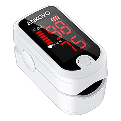 ANKOVO Pulse Oximeter, Oximeter Finger Adult and Child with LED Display, Blood Oxygen Saturation Monitor Fingertip, Oxygen Monitor Adults with Lanyard and Batteries