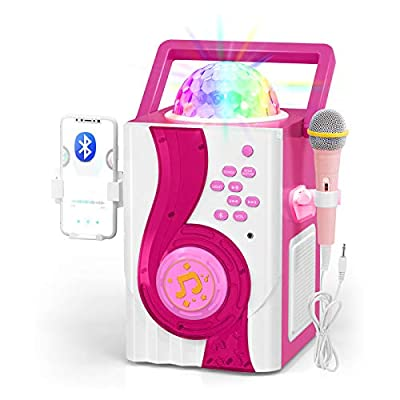 IROO Kids Karaoke Machine Toy, Wireless Bluetooth Speaker with Microphone and Controllable LED Lights, Portable Speaker Christmas Birthday Home Party for Android/iPhone/PC or All Smartphone (Pink)
