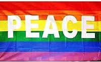 国旗 平和 ピース レインボー 虹色 LGBT 特大フラッグ【LLLAAWM】 90cmx150cm