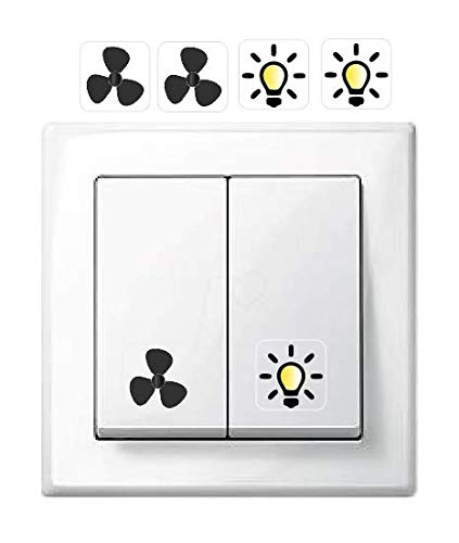 Generisch 2X Ventilator Symbol Aufkleber und 2X Licht Symbol Aufkleber. Schalteraufkleber (R75/8/1) T (1,5 x 1,5 cm)