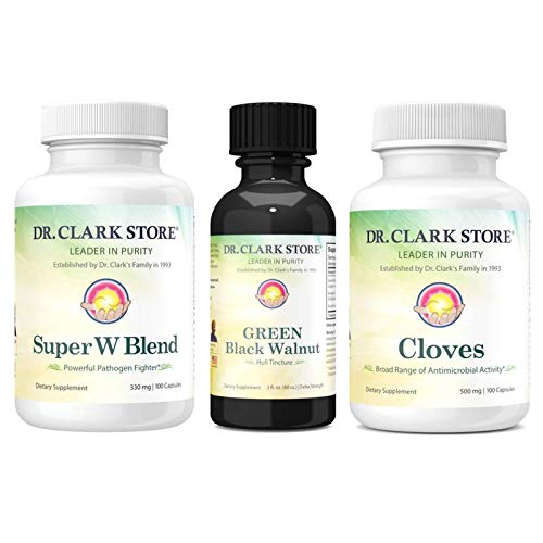 Dr. Clark Store Parasite Cleanse Cloves, Super W Blend Wormwood & Black Walnut Tincture Dietary Supplement - Promotes Digestive Health & Supports Immune System - 18 Day's Starter Kit